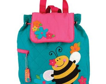 Personalized Stephen Joseph Quilted Bee Backpack, Diaper Bag, Toddler Backpack, Overnight Bag with FREE Embroidery