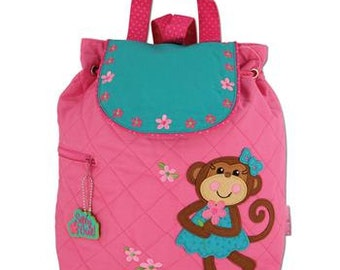 Personalized Stephen Joseph Girl Monkey Backpack, Diaper Bag with FREE Embroidery