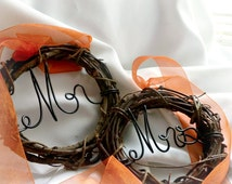 Rustic Wedding Decor, Mr Mrs Chair Signs, Fall Decorations