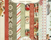 Father Christmas 12 DIGITAL Scrapbook Papers Set by Jodie Lee ... Instant Download and Print