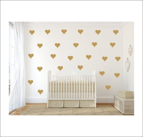 Heart vinyl decals gold heart decals vinyl wall decals for Cute gold heart wall decals