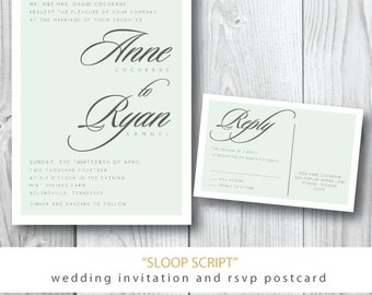 Sloop Script Printed Wedding Invitations   Wedding Invitation and additional pieces   Printed or Printable by Darby Cards