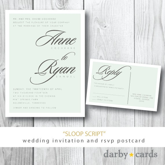 Sloop script printed wedding invitations wedding invitation for Wedding invitations 50 cents each
