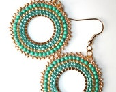 Beadwork Earrings Brick Stitch Golden Green Turquoise - Bridesmaid, Best friend, Mum, Teacher Gift, Creheart