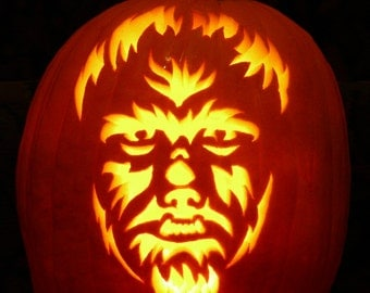 Wolfman hand-carved on a foam pumpkin