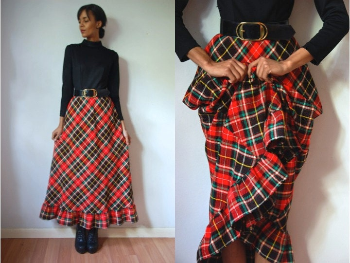 Vtg Belted Plaid Red Green Black LS Maxi Holiday by LuluTresors