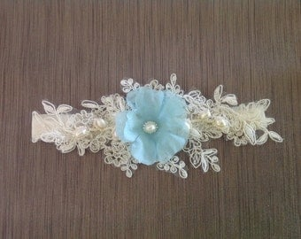 Something Blue Wedding Garter - Something Blue Garter for brides - Lace Wedding Garter #317