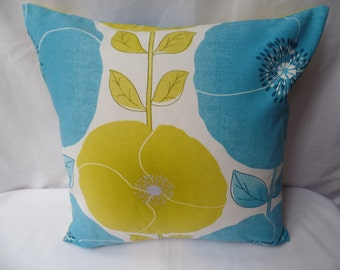 """Clearance Modern, retro blue pistachio green, white flowered 16"""" x 16"""" cushion cover, scatter cushion, pillow case"""