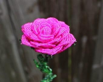 French Beaded Long Stem Rose Forever  Flower