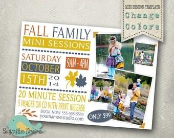 5x7 Mini Sessions PHOTOSHOP TEMPLATE - Mini Fall 24