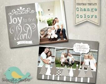 Christmas Card PHOTOSHOP TEMPLATE - Family Christmas Card 93