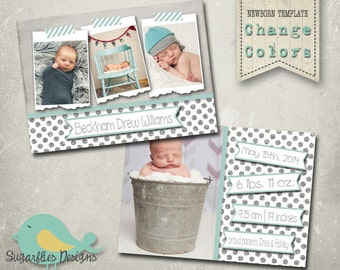 Baby Announcement PHOTOSHOP TEMPLATE - Baby Boy 006