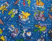 Pokemon fabric for kids dark blue color    100% Japanese cotton linen blend,Japan fabric , cotton fabric,fabric supplies
