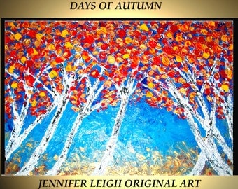 """Original Large Abstract Painting Modern Contemporary Canvas Art Red Gold Blue """"DAYS of AUTUMN"""" Trees 36x24 Palette Knife Texture Oil J.LEIGH"""