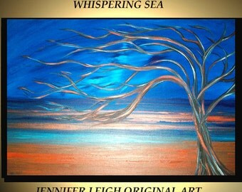 Original Large Abstract Painting Modern Contemporary Canvas Art Turquoise Rust WHISPERING SEA Tree 36x24 Palette Knife Texture Oil J.LEIGH