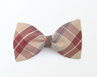 Men's Bow Tie, Double Sided Brown Plaid Bow Tie for Men, Wedding and Gift for Him / READY TO SHIP