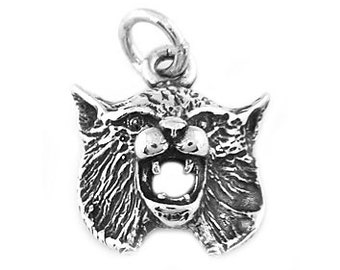 Sterling Silver Bobcat Head Charm (Hollow Back Charm)