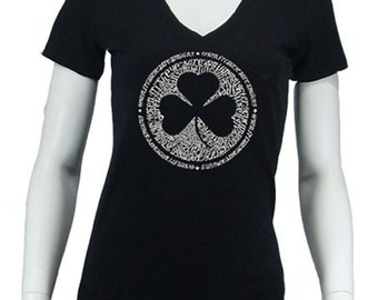 Women's V-neck T-shirt - Created using the Lyrics To When Irish Eyes Are Smiling