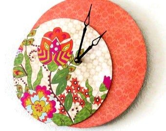 Unique Wall Clock, Orange Flower Clock, Retro Clock, Decor and Housewares, Home and Living, Boho Style,  Home Decor