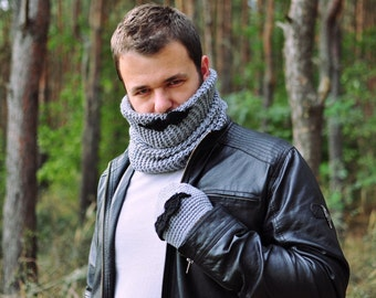Moustache male gloves, grey, black, crochet, knit, autumn fall winter accessory for man, gift for teen, boy