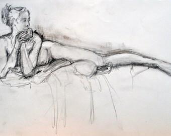 Long Legs,original pencil and charcoal life drawing