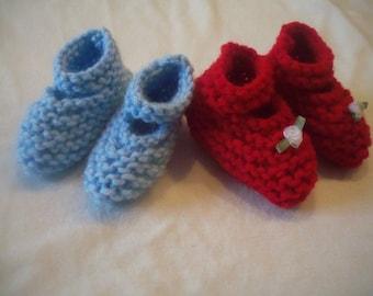Newborn Knitted Mary Jane Booties