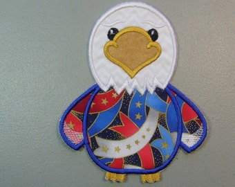 Bald Eagle iron on or sew on machine embroidered applique