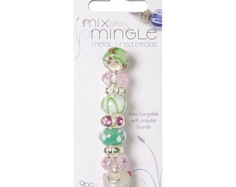Mix and Mingle Glass Beads - Green and White Mix