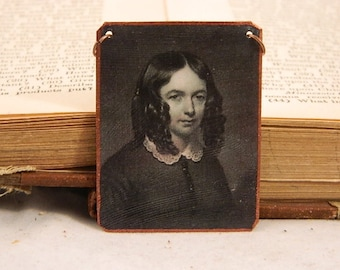 Elizabeth Barrett Browning necklace Literature jewelry feminist mixed media jewelry