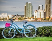 San Diego Skyline with Bicycle - Travel Art - Fine Art Photograph - Turquoise Pink Blue Green Landscape Art