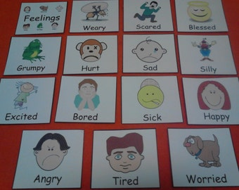 Feelings Flash Cards Laminated, Emotions Flashcards, Kids Educational Toys, Preschool Learning, Montessori Toddler, Feelings Sight Words