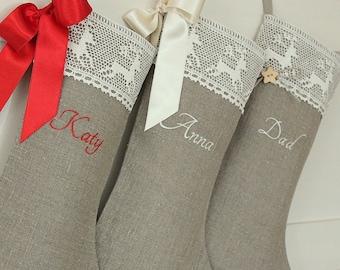 Personalized christmas stocking linen Burlap Christmas stocking Embroidered name Christmas stocking Family christmas stocking Holidays decor