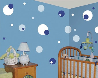 Baby Blue, Blue & White Polka Dot Wall Stickers