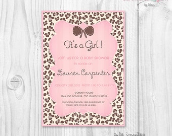 Baby shower leopard pink printable invitation