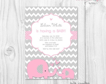 Baby shower girl baby elephant pink and grey chevron printable invitation