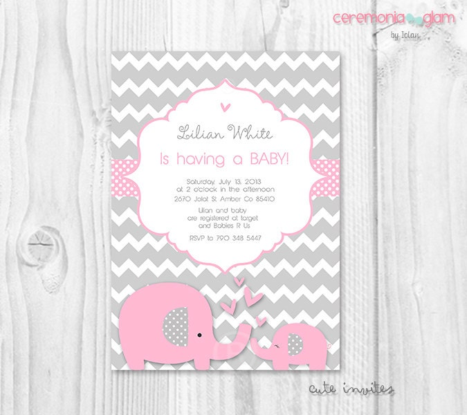 baby shower girl baby elephant pink and grey chevron printable
