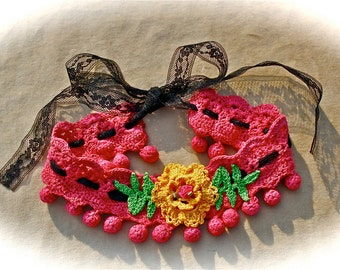 Boho Gypsy Cowgirl Crocheted Choker Betsey Johnson Flair With Vintage Style Accents Burlesque Stteampunk Beauty