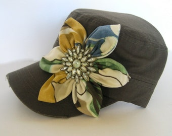 Dark Olive Green Grey Cadet Military Distressed Army Hat with Multi Print Petal Flower and a Beautiful Light Green Rhinestone Brooch Accent