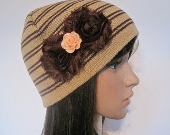 Brown Striped Beanie with Brown Shabby Frayed Flowers and a Peach Cabochons Flower Embellishment