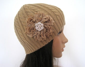 Adorable Khaki Beige Cable Knit Beanie Winter Hat with a Khaki Beige Flower and a Rhinestone Accent