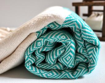 Chevron Pattern Turkish Towel Peshtemal towel in ivory Turquoise Grenn color Cotton Woven pure soft