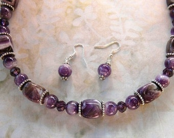 24 Inch Chunky Amethyst Necklace with Earrings
