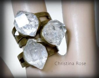 RAW DIAMOND RING , Herkimer Diamonds, Black Diamond Ring, Natural Stone Ring