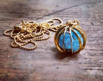 Blue Apatite, Peridot or Watermelon Tourmaline Ball Cage Necklace by Mala Me Mala
