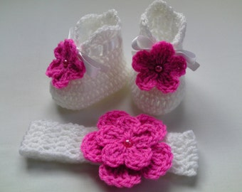 SALE Crochet Baby Booties and Headband Girl Gift White Pink Flower