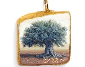 Painting Pendant, The Olive Tree. Miniature oil painting On natural Jerusalem by Miki Karni