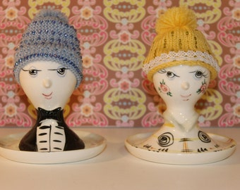 Two Vintage Arnat Japan Anthropomorphic Egg Cups