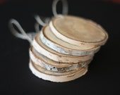 Large Flat Birch Wood Rounds.  Ornaments. Favors (Set of 5)