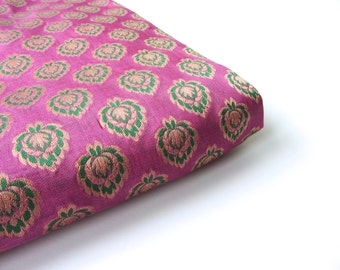 Pink green silk brocade flowers India fabric nr 224 fat quarter