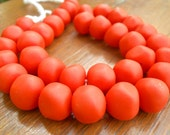 resin nugget shaped beads solid RED approx 1 x strand of  34 beads